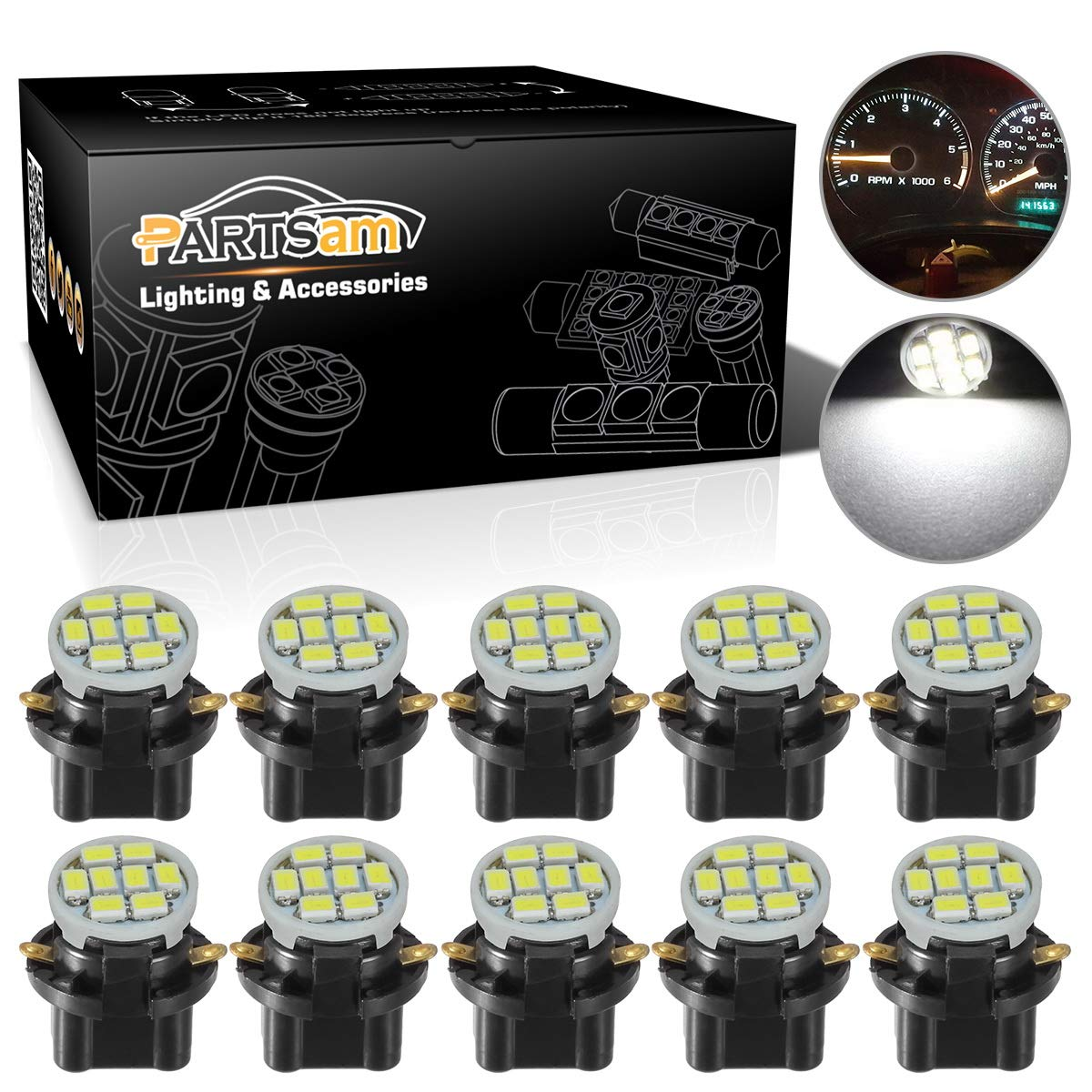Partsam T10 194 LED Light bulb 168 LED Bulbs Bright Instrument Panel Gauge Cluster Dashboard LED Light Bulbs Set 10 T10 LED Bulbs with 10 Twist Lock Socket 5/8 Inch 16mm - White 10Pcak