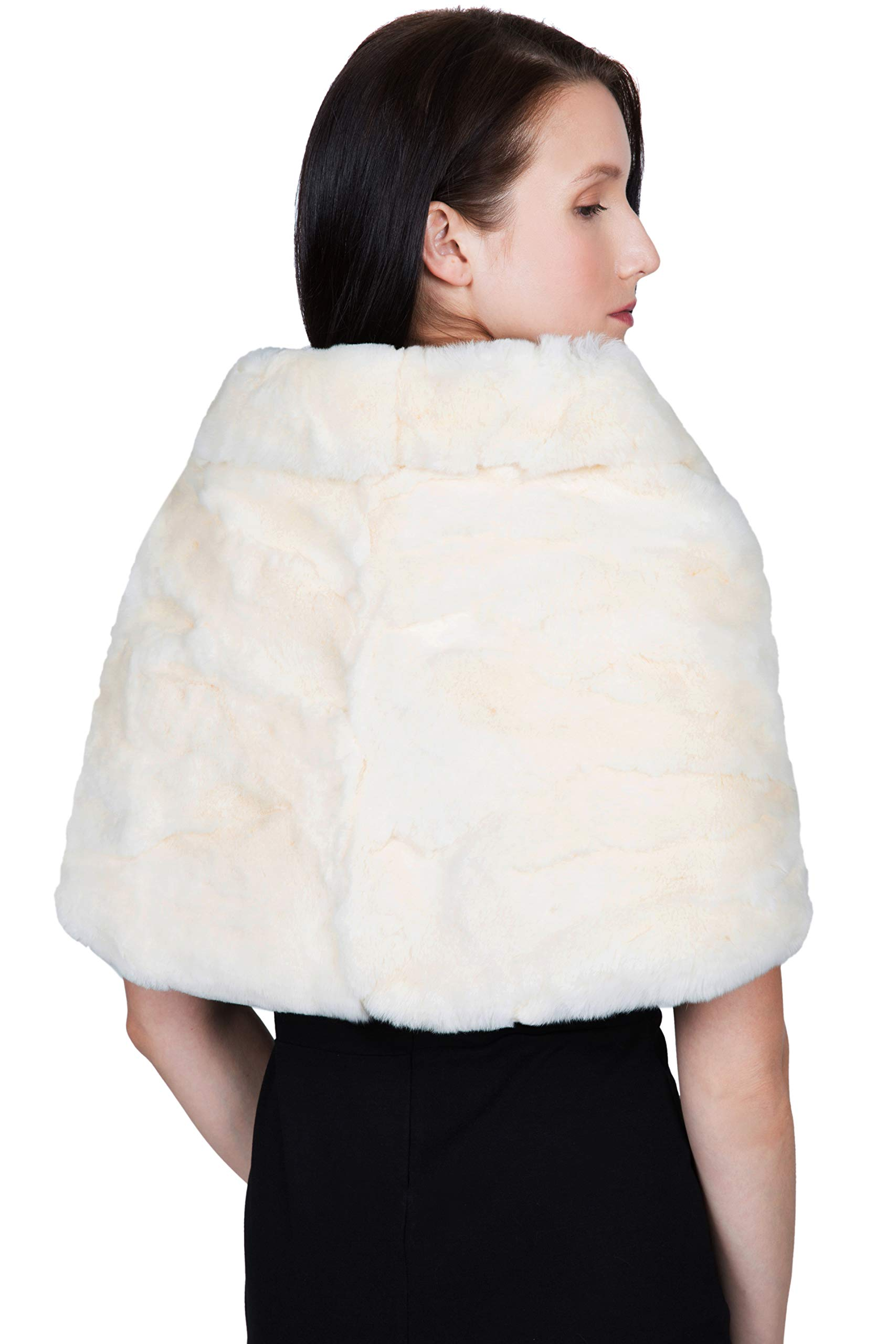 OBURLA Women's Rex Rabbit Fur Cape with Collar | Soft and Luxurious Real Fur Shawl Wrap Stole (Beige) by OBURLA (Image #6)