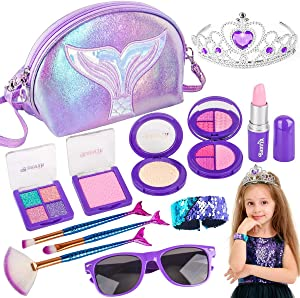 Banvih Makeup Kit for Girls-Pretend Play Toy Makeup Set for Kids Toddlers with Princess Crown, Purse, Slap Bracelets, Lipstick, Sunglasses, Brush for Little Girls (Not Real)