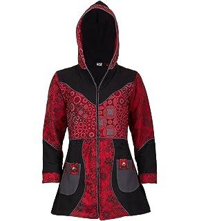 Abrigo para mujer con capucha, de diseño floral, de algodón