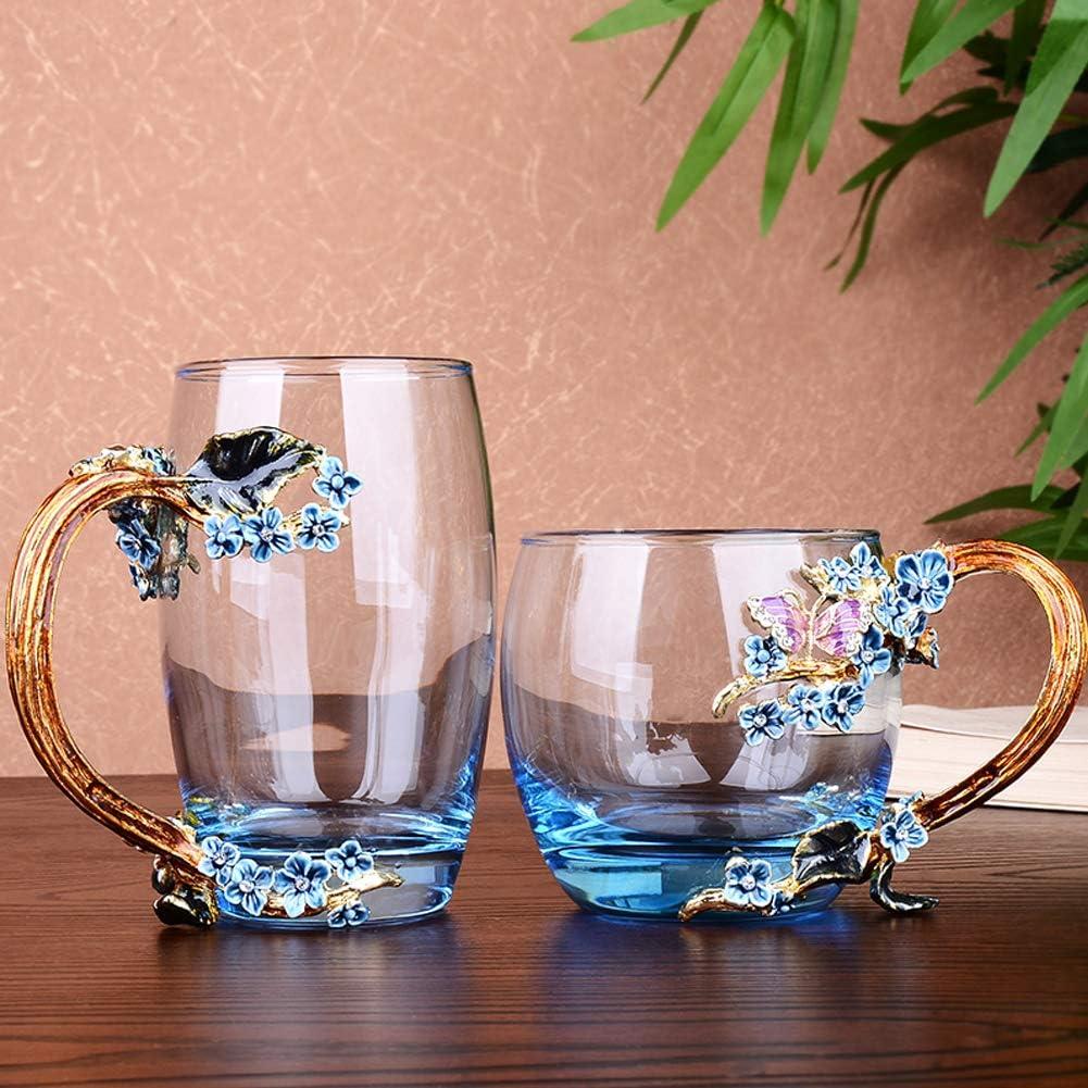 Tasses /à th/é fleur pour la f/ête des m/ères ANSUG /émail fleur Mug verre tasse /à caf/é femmes cadeau d/écoration mariage jour danniversaire Saint Valentin