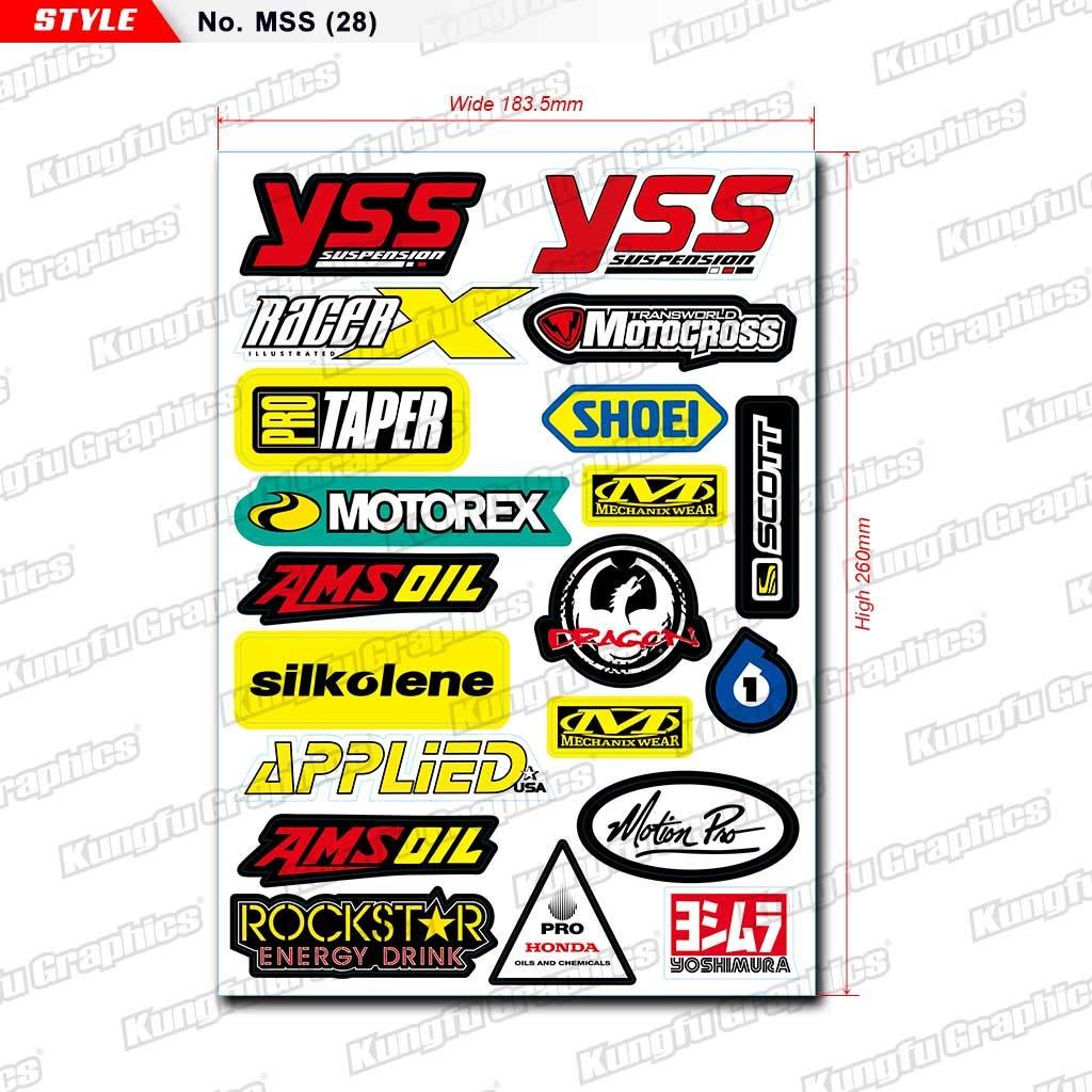 Kungfu Graphics Micro Sponsor Logo Racing Sticker Sheet Universal Orange 7.2x 10.2 inch