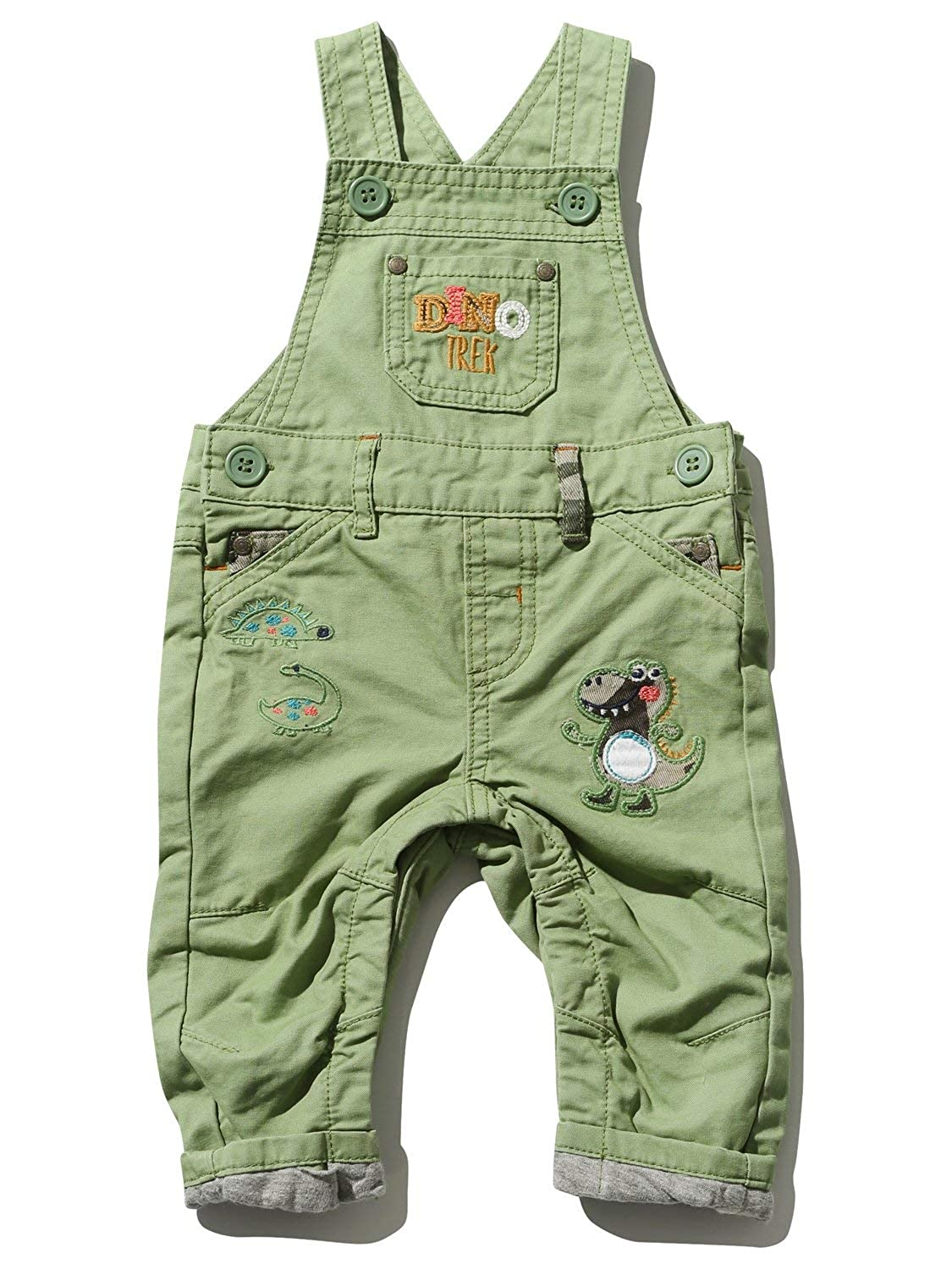 M&Co Baby Boy Cotton Khaki Dinosaur Applique Button Fastening Pockets Dungarees