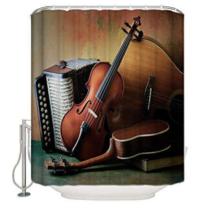 Xspring Guitar And Accordion Shower Curtain Home Decoration Mildew Resistant Waterproof Polyester Fabric Machine Washable
