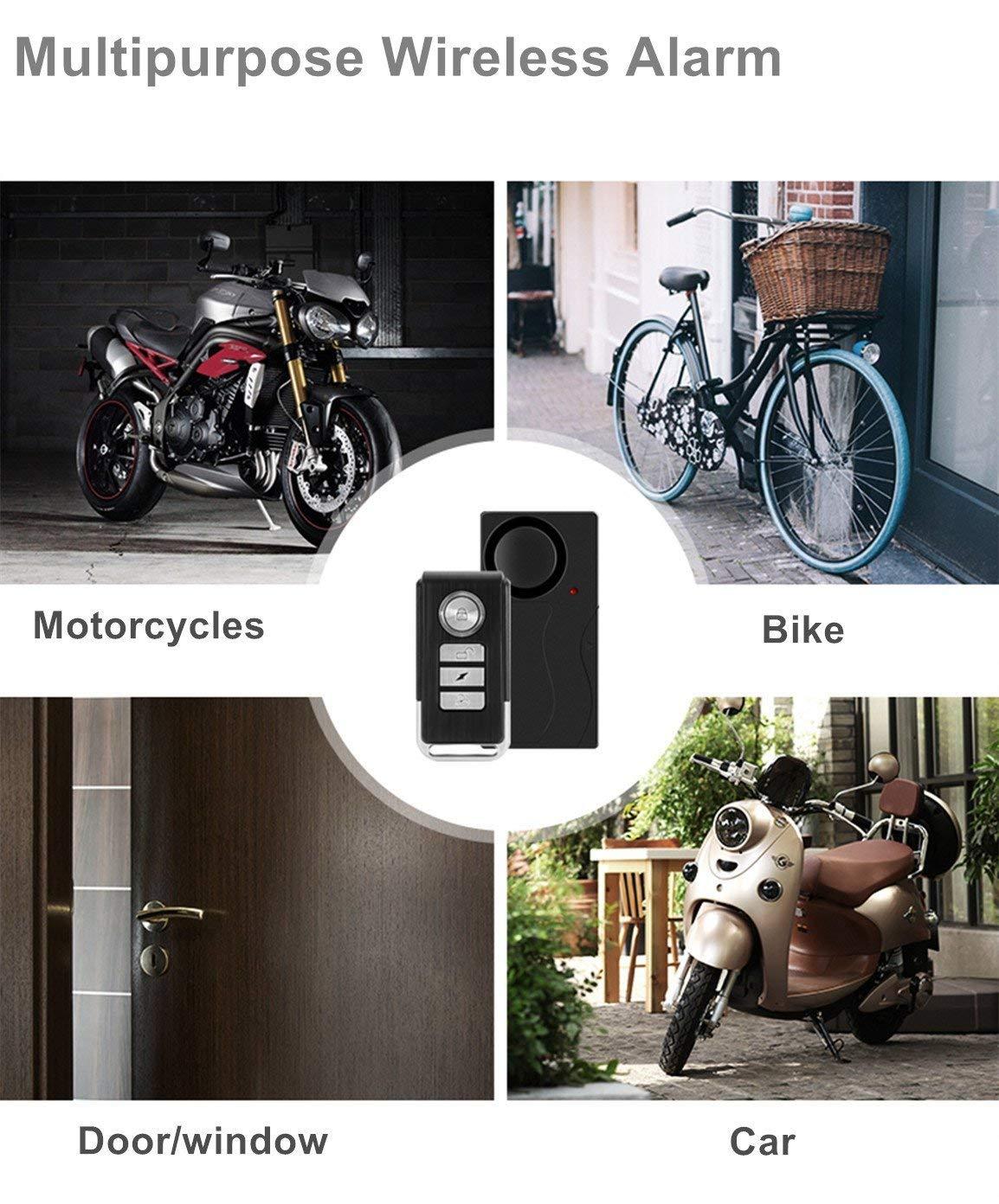 Motocicleta o veh/ículo Alarma de Puerta y Ventana Alarma de vibraci/ón inal/ámbrica WiHoo con Mando a Distancia antirrobo para Bicicleta Alarma de Seguridad de 110 dB Black-2