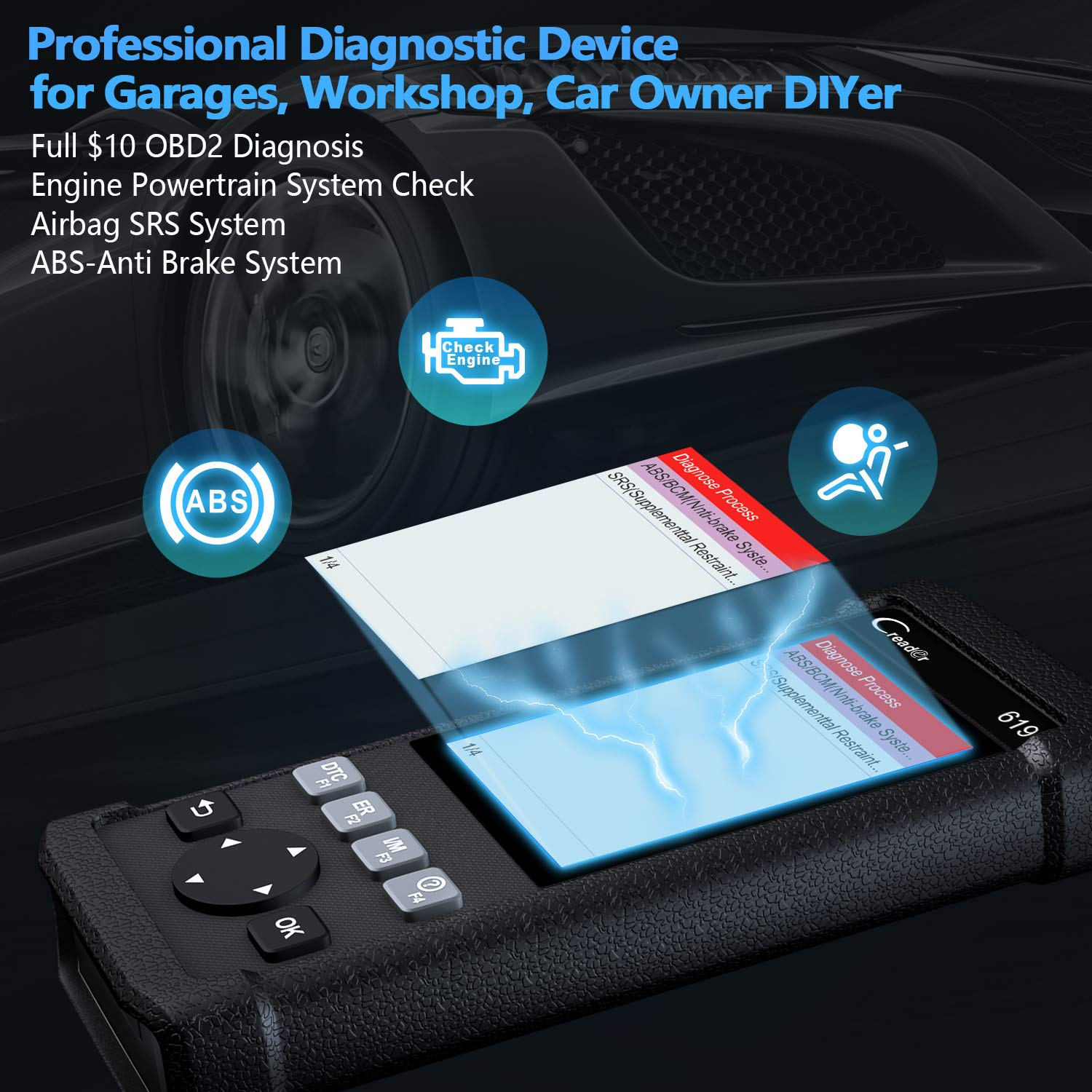LAUNCH OBD2 SRS Scanner X431 Creader CR619 Check Car Computer Engine ABS Airbag Light Fault Code Readers Automotive Diagnostic Scan Tool with EVAP/O2 Test by LAUNCH (Image #2)
