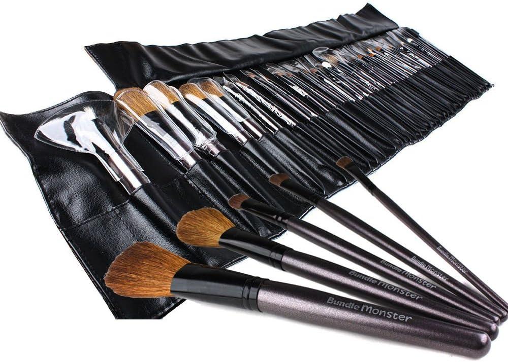 Bundle Monster 34pc Studio Pro Makeup Make Up Cosmetic Brush Set Kit w/ Leather Case: Amazon.es: Electrónica
