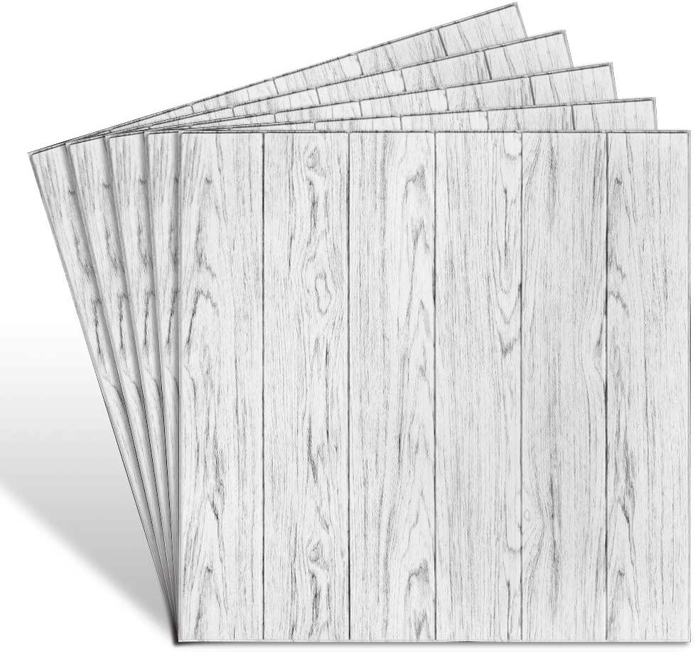 Cosaving 3D Wall Panels Peel and Stick 5 Pack, Wall Panels for Interior Wall Decor, Self-Adhesive Foam Wall Tiles Wood for TV Background Walls Bedroom, 5 Pack - 5.3 Sq.Ft, White Wood