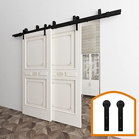 bypass barn door hardware. HomeDeco Hardware 5-16 FT Bypass Barn Door Double Kit Rustic Black Steel S