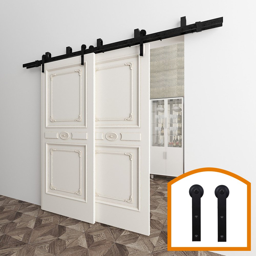 ZEKOO 5-16 FT Bypass Barn Door Hardware Double Door Kit Rustic Black Steel Metal Rail Roller Set Low Ceiling Bracket (12 FT New Style Bypass kit)