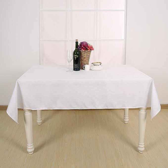 Deconovo Manteles de Mesa Rectangular Efecto Lino para Cocina 140 x 200 cm Blanco: Amazon.es: Hogar