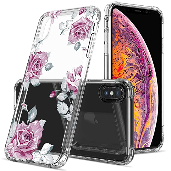 502d9ca98e Floral Clear iPhone Xs Max Case for Women/Girls,GREATRULY Pretty Phone Case  for