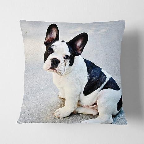 """Big Box Art """"gris con negro y blanco Bulldog francés perro"""" cojín manta"""