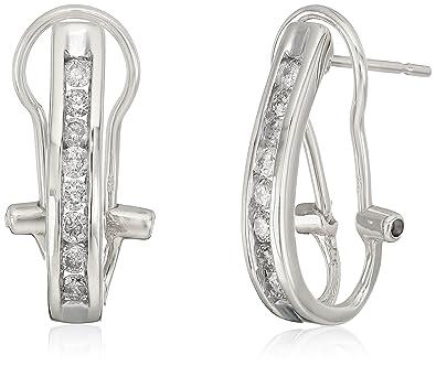 ea6853ceebe17 Amazon.com: 10k White Gold Diamond J hoop Earrings: Jewelry