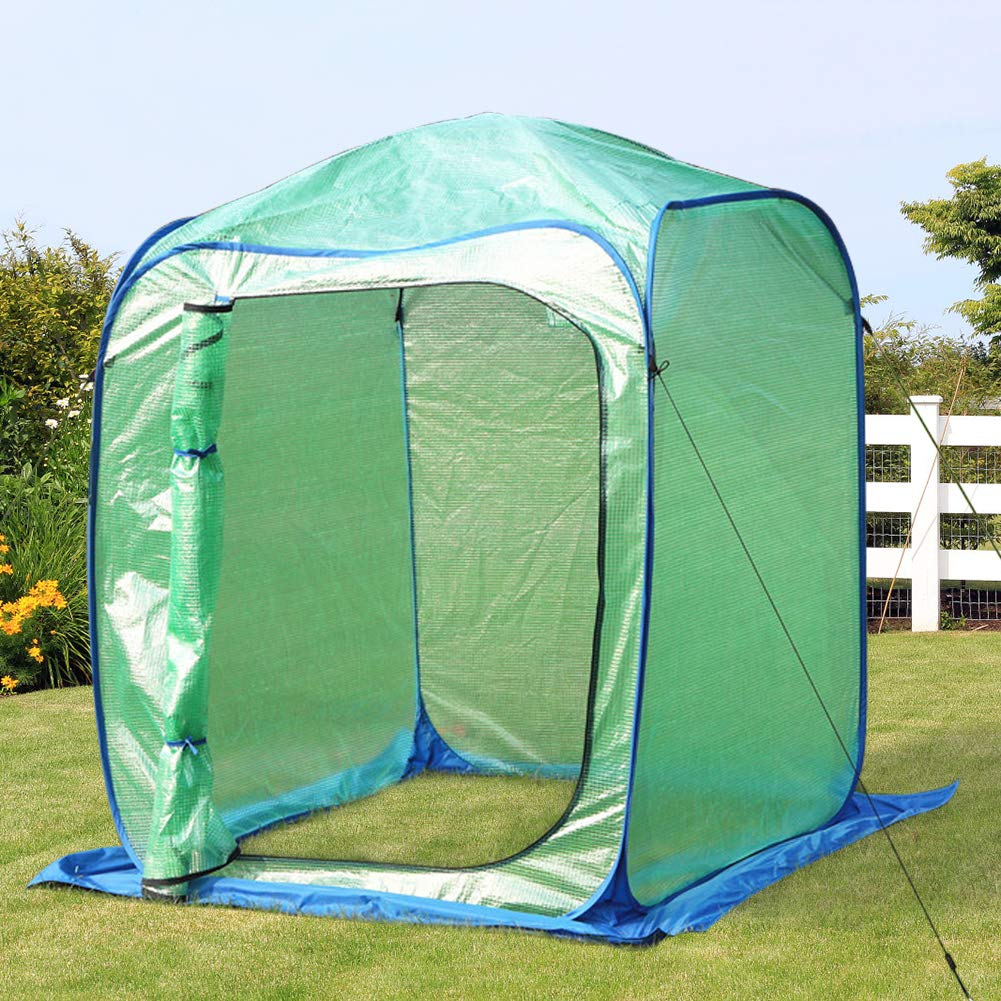 PHI VILLA Large Walk-in Pop Up Greenhouse-Small Flower Plant Greenhouse 49 x 49 x 64.9 Blue