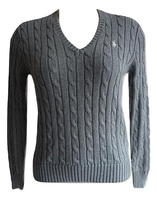 Polo Ralph Lauren Womens Genuine Light Grey Julianna Knitted Cable Crew Jumper