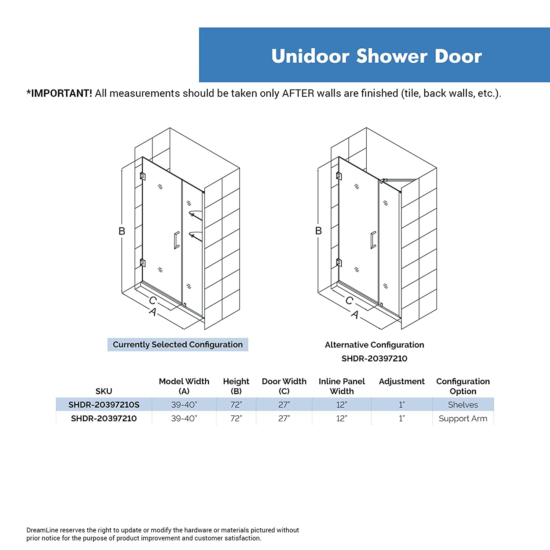 W x 72 in SHDR-20397210S-04 DreamLine Unidoor 39-40 in H Frameless Hinged Shower Door with Shelves in Brushed Nickel