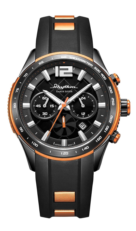 RHYTHM Herrenuhr Solar Earth Saver Chrono Armbanduhr Schwarz Orange - R-ES1401R04