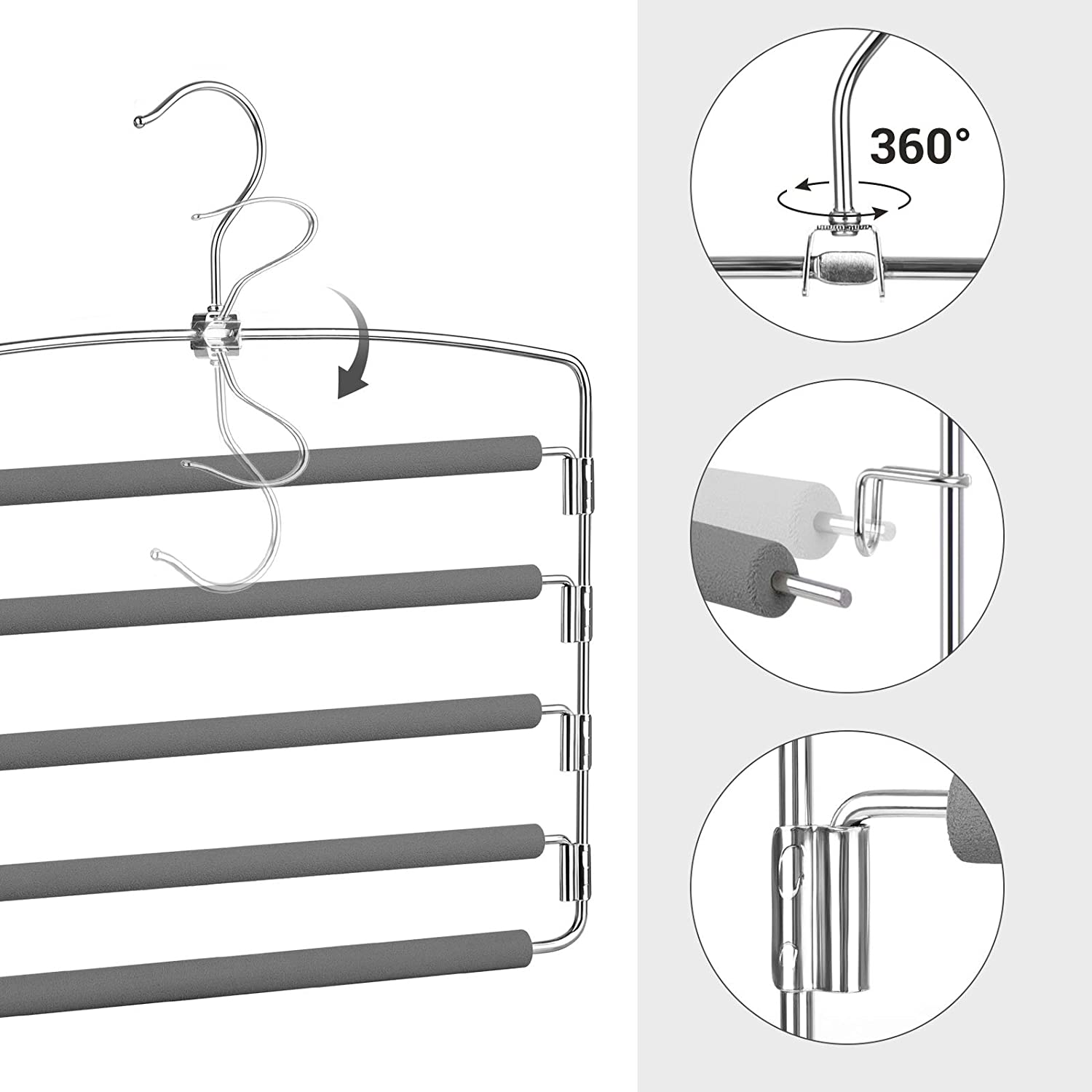 Set of 3 Space-Saving Multi-Bar Metal Pants Hangers Suit Pants Scarves Swing Arms for 5 Jeans Each Ties Silver and Pink UCRI041PK SONGMICS Trousers Hangers Stable with Non-Slip Padding