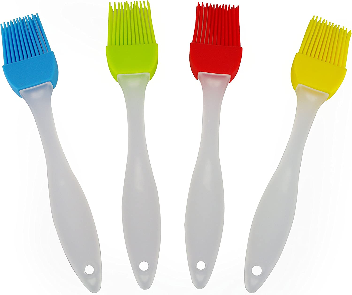 Mirenlife 4-Pack Silicone Basting Brush, Pastry Brush, Grill BBQ Brush, Multi-use Brush, 4 Colors(Red, Yellow, Blue and Green)