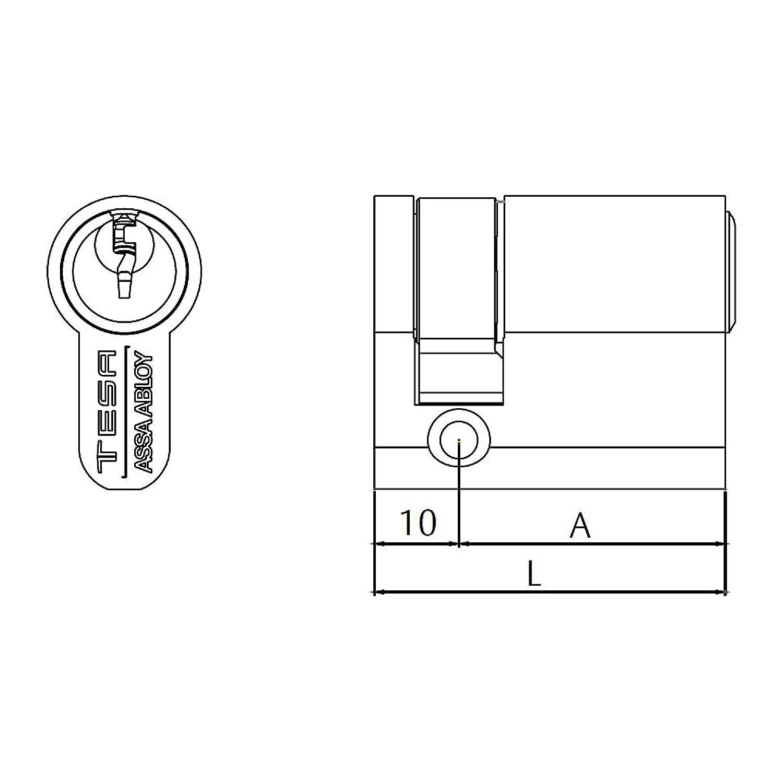 Tesa Assa Abloy, 503B3040L, Cilindro de seguridad TE5, Leva larga, 30x40mm, Latonado: Amazon.es: Bricolaje y herramientas