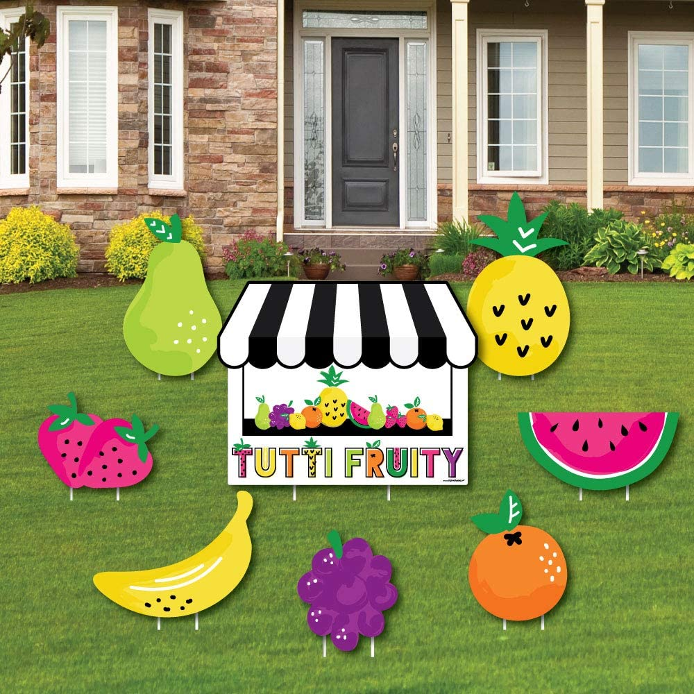 Tutti Fruitti Birthday Welcome Door Sign Fruit Party Welcome Sign Tutti Fruity TWO-ti Fruity Birthday Decorations Fully Assembled