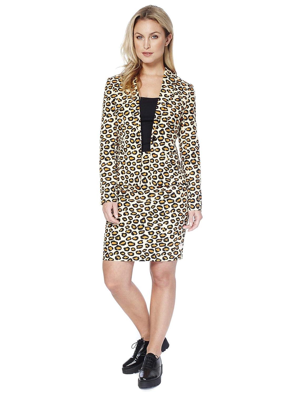 Las mujeres Opposuit Señora Jag, tamaño 38, traje de leopardo Blazer Carnaval de la falda del patrón del tigre de carnaval