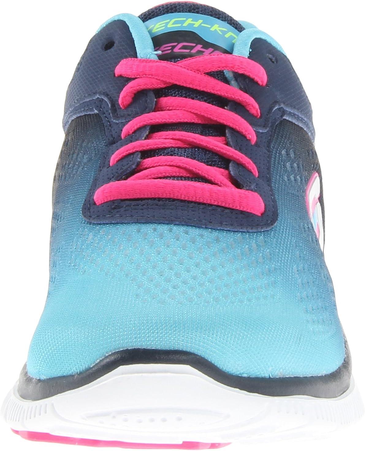 Skechers Flex Appeal Style Icon - Zapatillas de Deporte de material sintético mujer, azul - Blau (NVBL), 36: Amazon.es: Zapatos y complementos