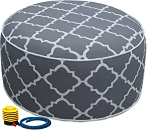 Kozyard Inflatable Stool Ottoman Used for Indoor or Outdoor, Kids or Adults, Camping or Home (Gray Pattern)