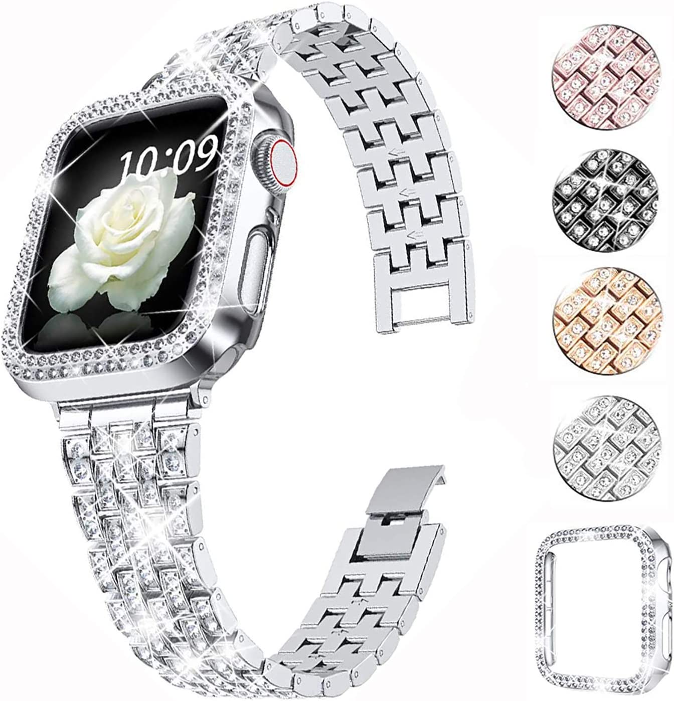 QVLANG Compatible Apple Watch Band 38mm 40mm 42mm 44mm Series 6/5/4/3/2/1/SE,Bling Series Band for Women + Diamond Rhinestone Case, Stainless Steel Metal Bracelet Strap for iWatch (Silver, 38mm)