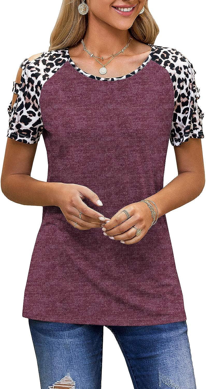Womens Leopard Print Cold Shoulder Tops Casual Short Sleeve Color Block T Shirts