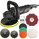 Polisher, TACKLIFE Buffer Polisher 7-Inch/6-Inch 12.5Amp, With 6 Variable Speeds, Digital Screen, Lock Switch, Detachable Han
