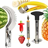 iMustech 5 Pcs Fruit Knives Set, Fruit Slicer, Melon Baller/Scoop + Pineapple Corer + Banana Peeler + Strawberry Huller + Vegetable Cutters, Tong, Fruit Carving, Excellent Kitchen Tools & Gadgets