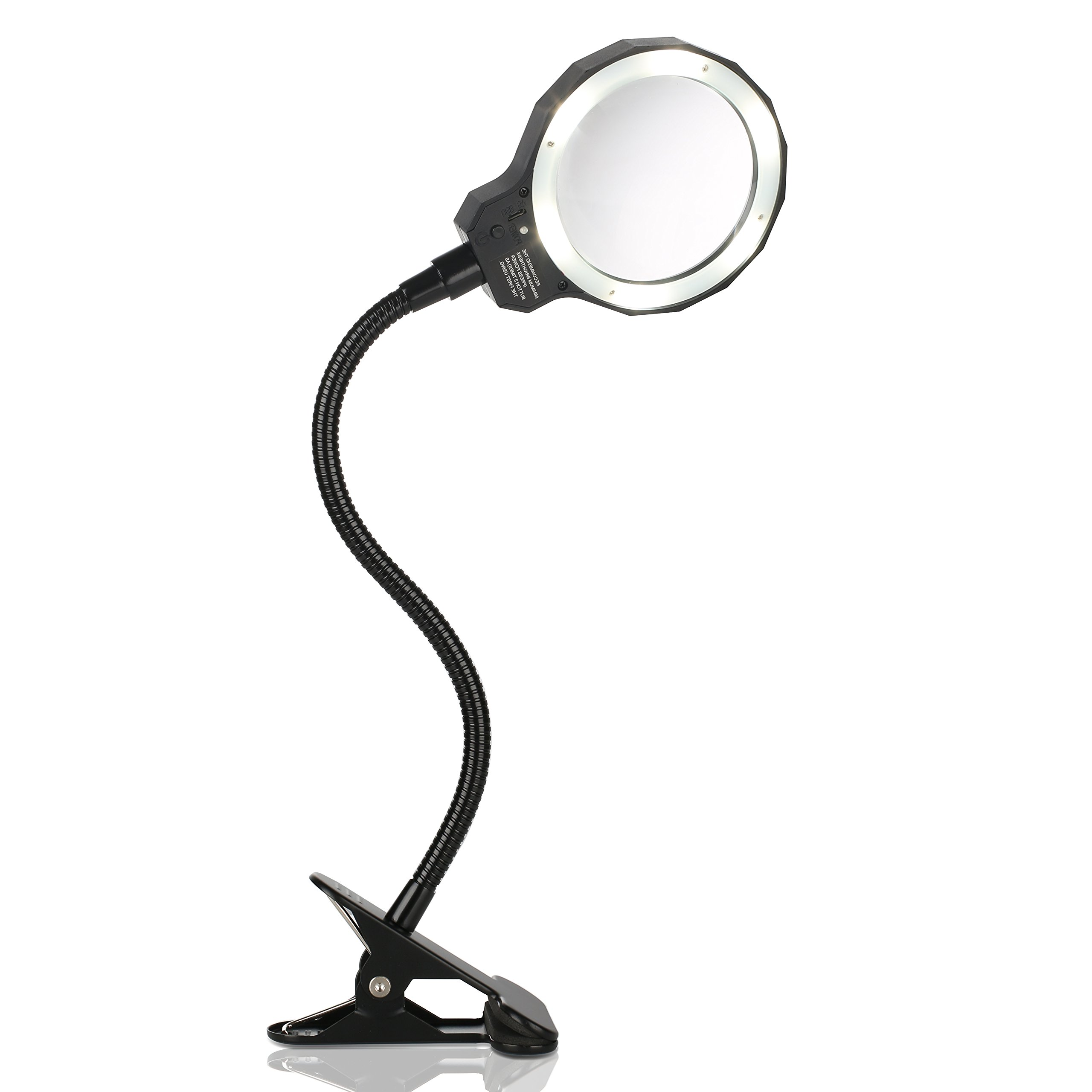 Daylight LED 3X Magnifying Lamp Magnifying Glass with Light Clip On Illuminated Magnifier Lens with 3 Adjustable Light Settings & Detachable Head