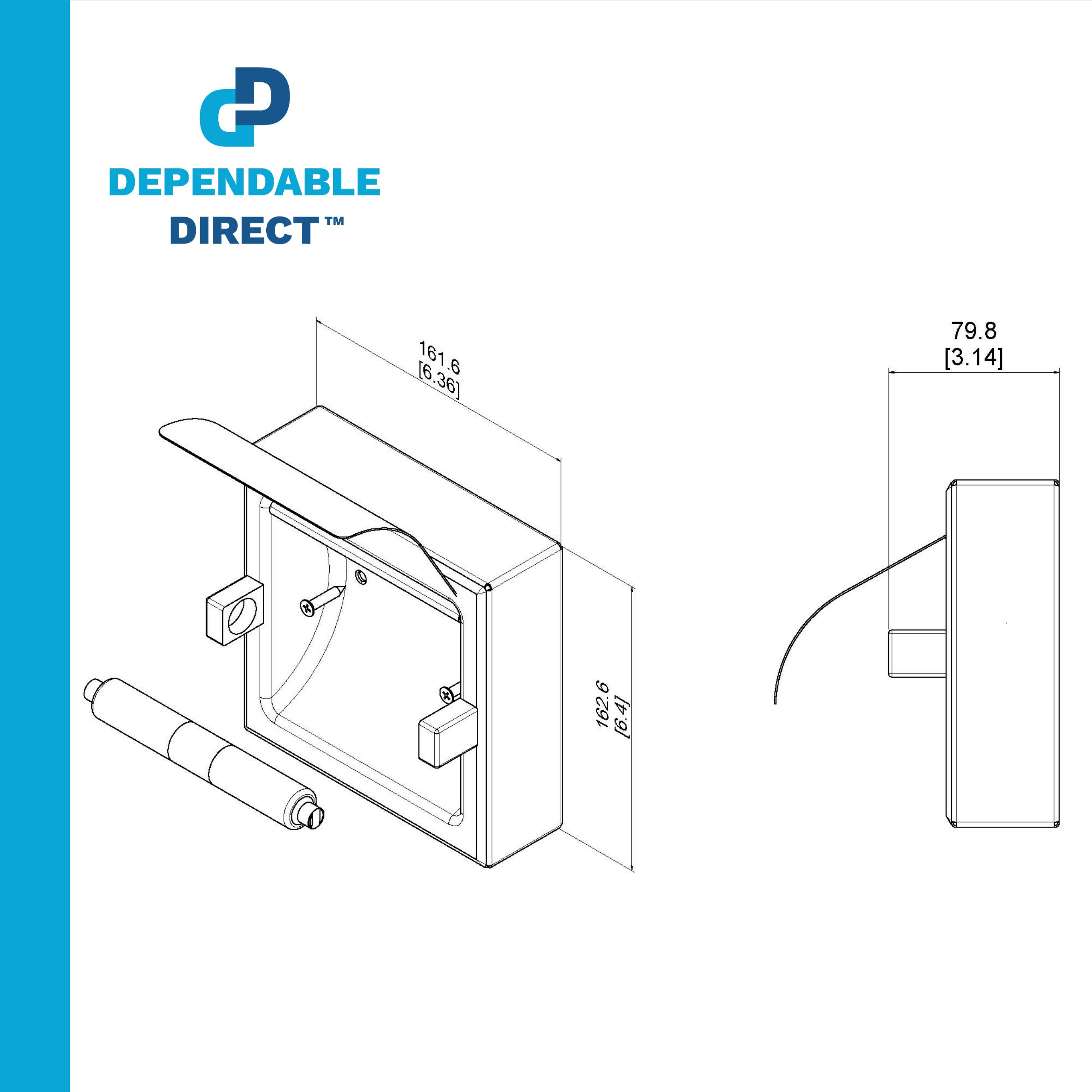 Dependable Direct Pack of 9 - Horizontal Two Roll Hooded Toilet Paper Holder - Stainless Steel - Satin Finish - Surface Mount by Dependable Direct (Image #6)
