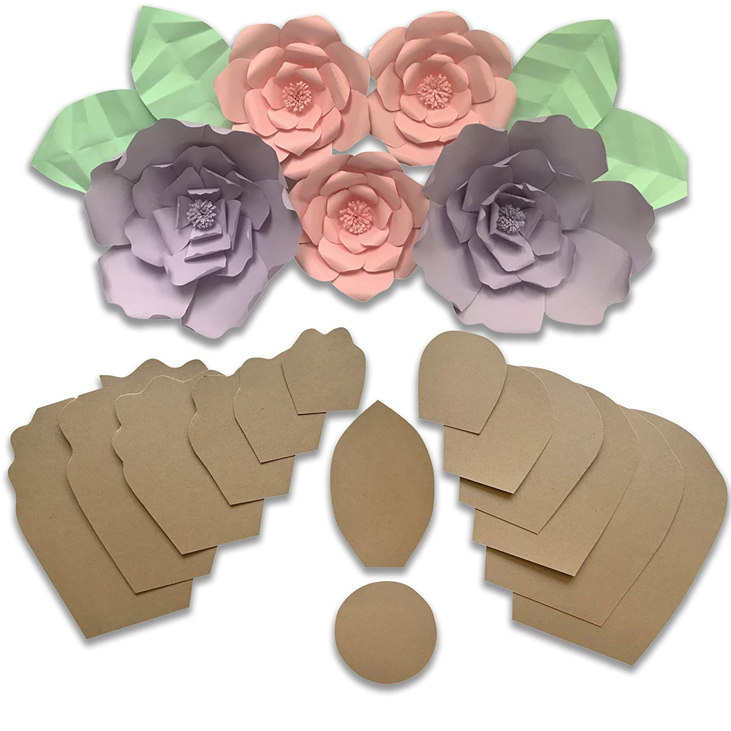 Two Pack Rose Peony Paper Flower Template Kit Free Leaf Template Paper Flowers Decorations For Wall Make Unlimited Flowers Diy Do It