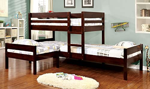 Furniture of America Woody Twin Size Wood Triple Bunk Bed