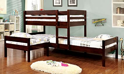 Amazon Com Furniture Of America Woody Twin Over Twin Bunk Bed With