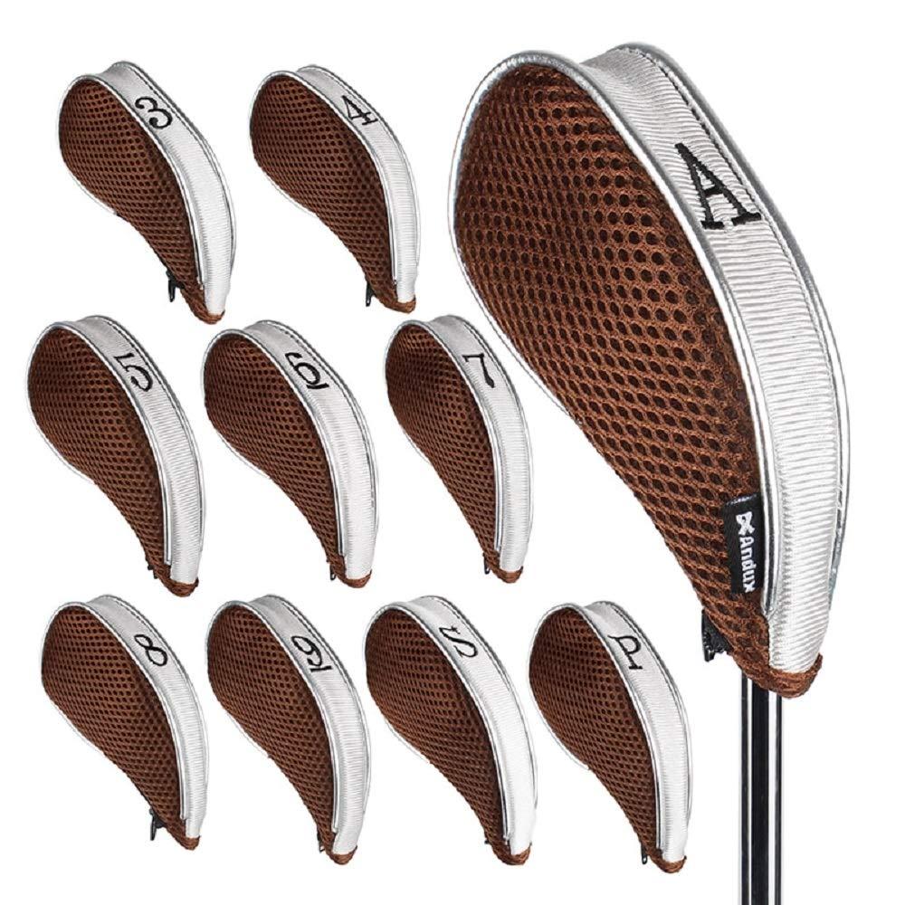 lvh アイアンヘッドカバー ゴルフ ジッパー付き 左利きと右利き用 10個/セット MT/YB003 コーヒー/グレー  グレー B07PNKQM6P