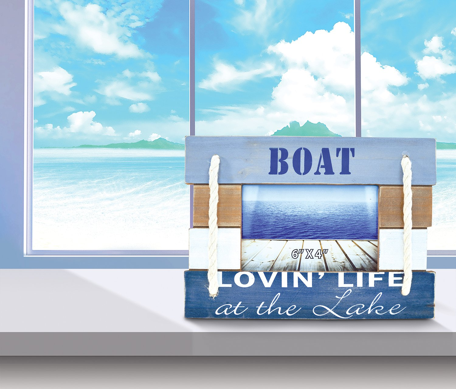 CoTa Global Nautical Coastal Wooden Atlantic ''Lovin' Life At the Lake'' Real Natural Wood Picture Holder Tabletop Photo Frame Unique Handcrafted Hand-painted Figurine Home Accent Accessories 7.5 Inch by Puzzled (Image #1)