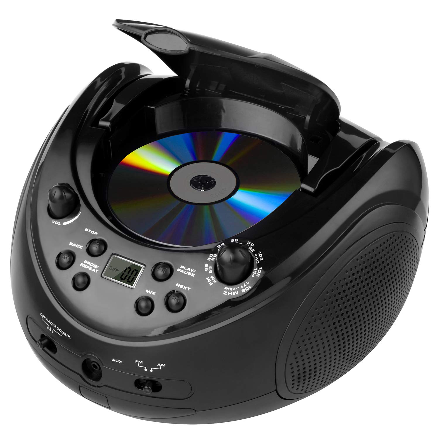Memzuoix Portable Stereo CD Player, CD Boombox with AM/FM Radio and 3.50mm Aux Line-in Audio Input