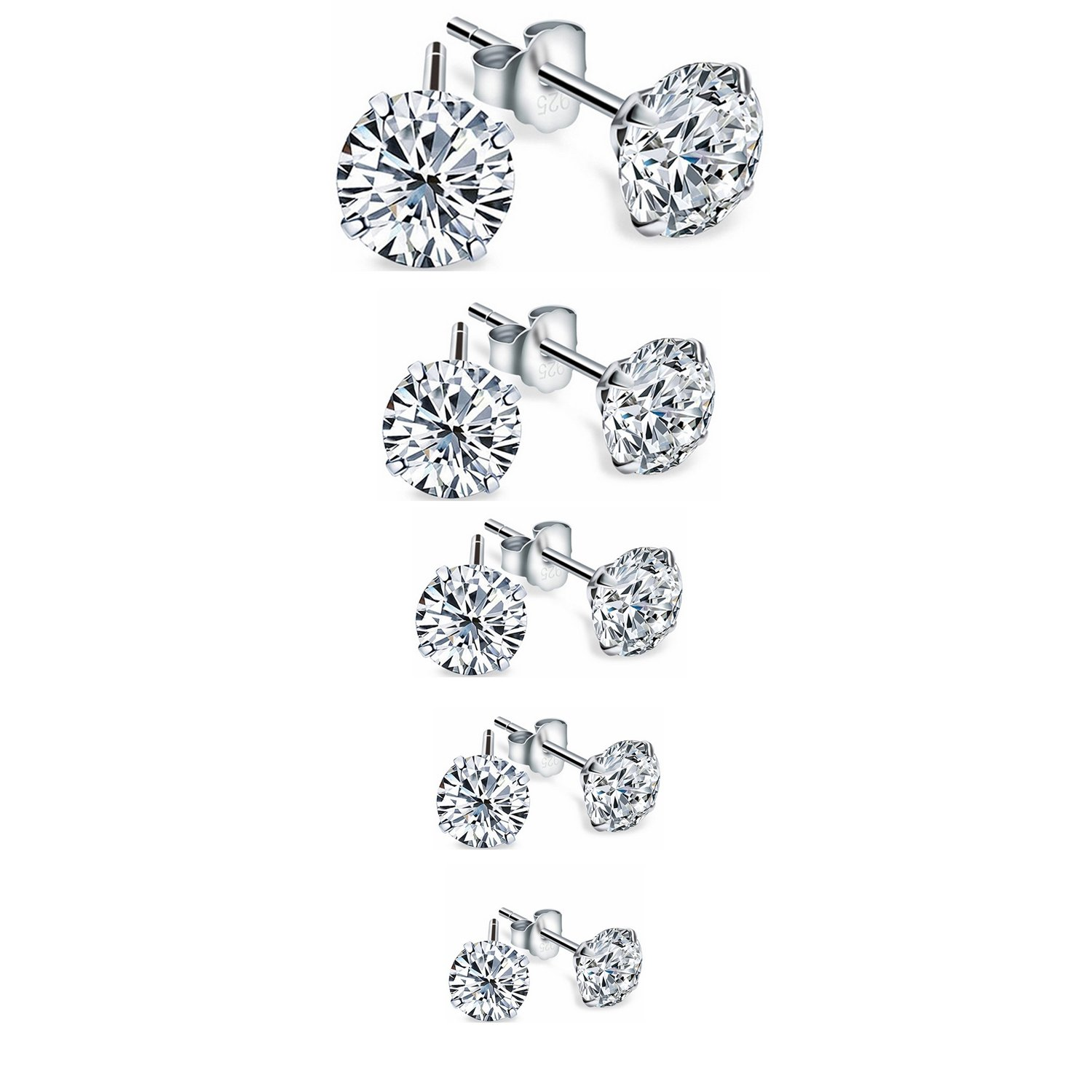 Zealmer Silver Stud Earrings Set Clear Rhinestone Cubic Zirconia CZ 5 Pairs with Gift Box for Valentine's Day
