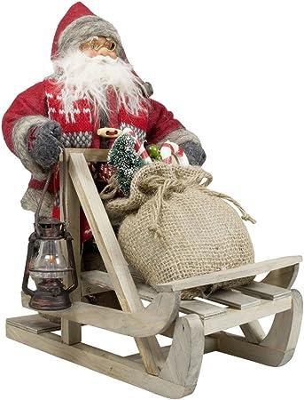Auf Schneeschuh JEMIDI Weihnachtsmann 18cm Deko Nikolaus zum aufh/ängen Figur Santa Weihnachts Deko Holz