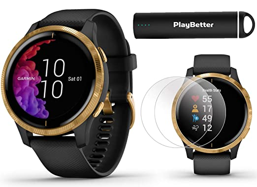 Amazon.com: Garmin venu GPS Smartwatch (Black/Gold) Power ...