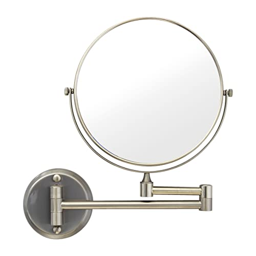 MODONA 8 Two-Sided 1X and 5X Wall-Mounted Mirror, Made of BRASS – Satin Nickel – 5 Year Warrantee