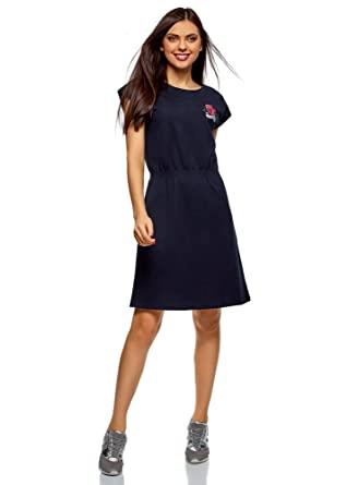 caab91650b74ad oodji Ultra Damen Kleid mit Gummizug an der Taille, Blau, DE 32 / EU