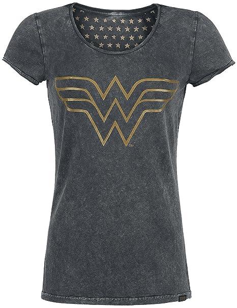Wonder Woman Mujer Maravilla Camiseta de Las señoras Camisa del Logotipo  del Negro  Amazon.es  Ropa y accesorios e94eb963b05f3