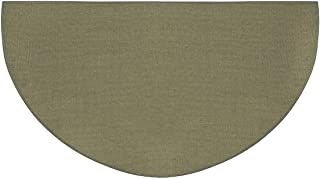 product image for Fire Retardant Fiberglass Half Round Hearth Fireplace Area Rug Polyester Trim Non Slip Mat Low Profile Protects Floors from Sparks Embers Logs 32 W x 60 L Sage