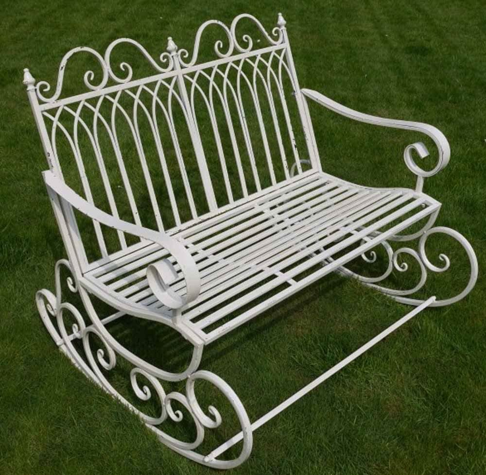 Versailles Style Rocking Metal Garden Bench in Antique Bronze Finish