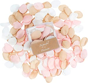 400Pcs Silk Rose Petals for Romantic Night, Gold Rose Artificial Flower Petals for Wedding, Flower Girl Basket, Bridal Party, Baby Shower, Table Confetti, Centerpieces, Engagement Decorations